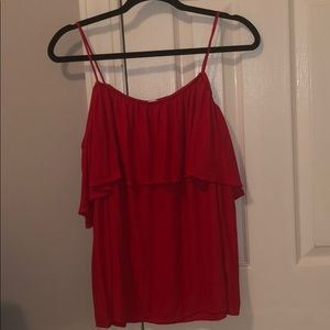 Lush Tops - Lush Red Over the Shoulder Dress